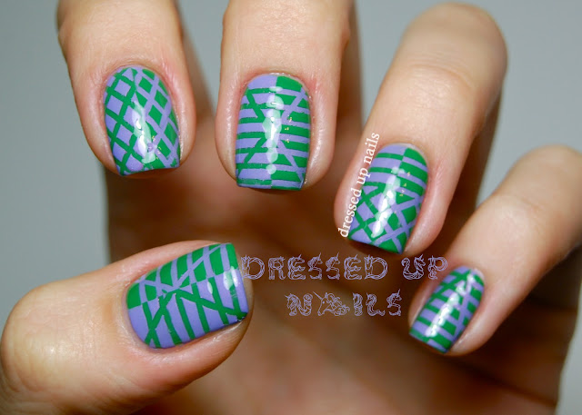 Dressed Up Nails - Super Black Lacquers reverse striping tape nail art