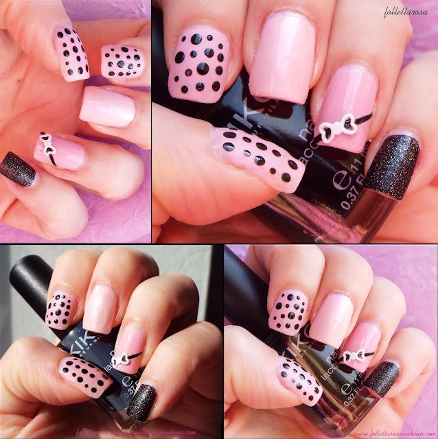 unghie rosa e nero