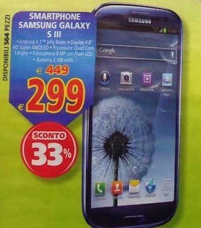 Se abitate vicino ad un negozio il Gigante nell'ultimo volantino pre natale trovate il Samsung Galaxy S3 a 299 euro