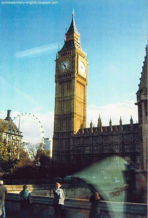 Big Ben and the London Eye (Millennium Wheel) in London, England