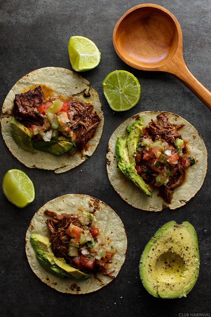 Slow Cooker Sweet and Spicy Shredded Beef Tacos