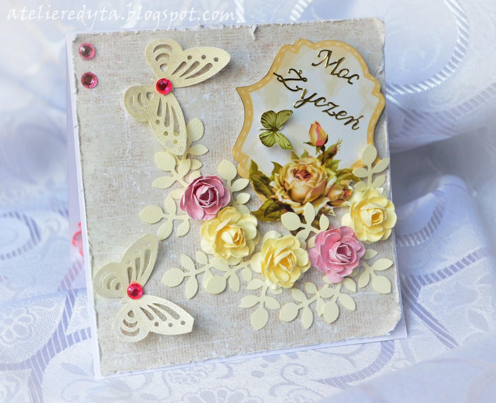 Kartka urodzinowa ręcznie robiona z różami