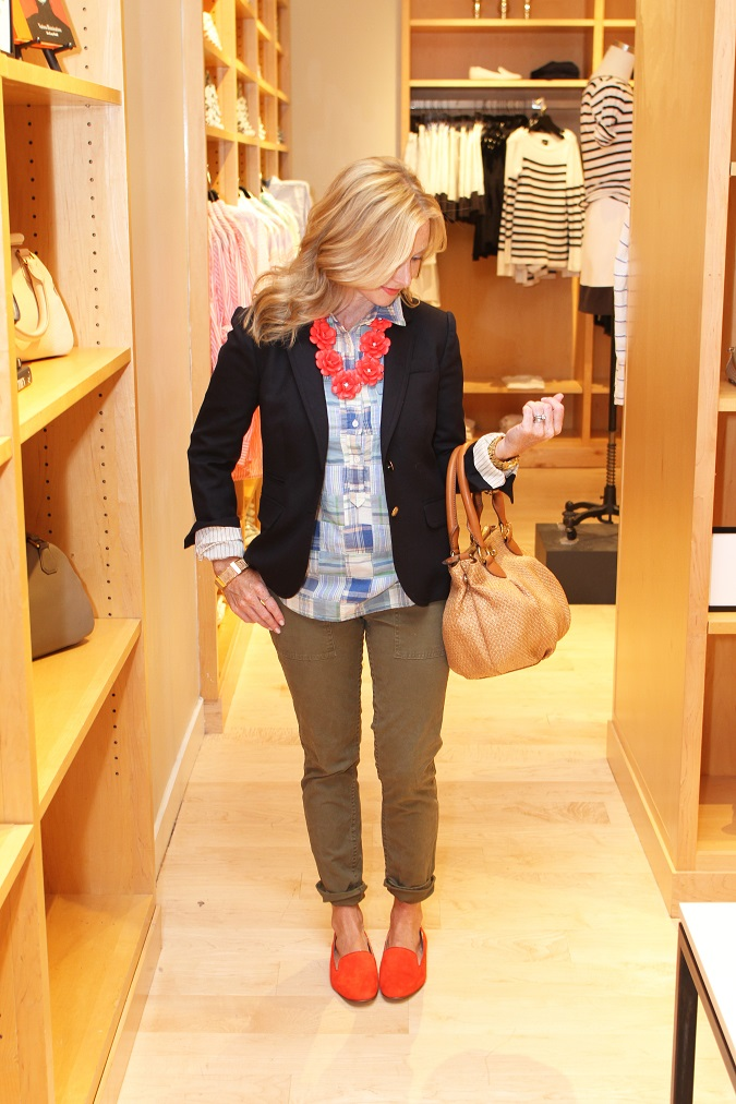 jcrew-schoolboy-blazer-patchwork-shirt-beaded-rose-necklace-utility-pants-darby-suede-loafers-style-session