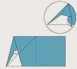 Bước 4: Từ vị trí mũi tên ta mở ra và kéo, gấp về phía bên phải tờ giấy
