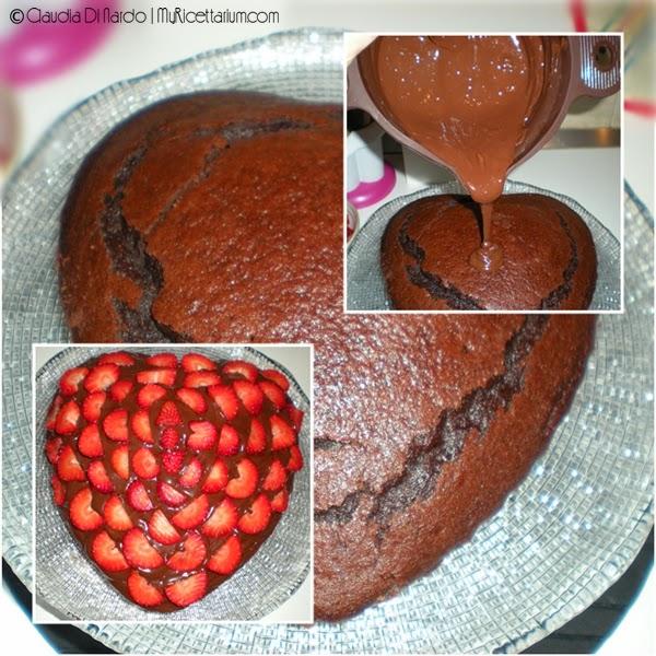 Torta al cioccolato e fragole