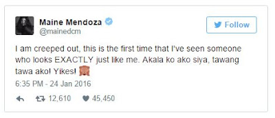 Maine's tweet after meeting her doppelganger