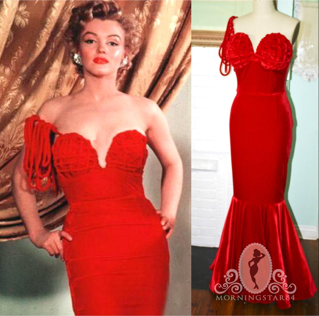 Morningstar Pinup: Marilyn Monroe\'s Henrietta Award Dress- Red Velvet-