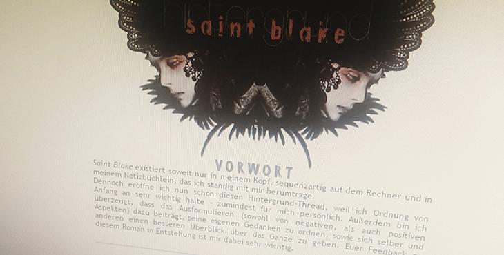"""Screenshot aus Poolys Kunst- und Schreibforum aus meiner Vorstellung von """"Saint Blake"""" vor 4 Jahren. Text/Gestaltung © Steffi Koch / Urheber Foto u. Brushes unbekannt // fieberherz.de"""