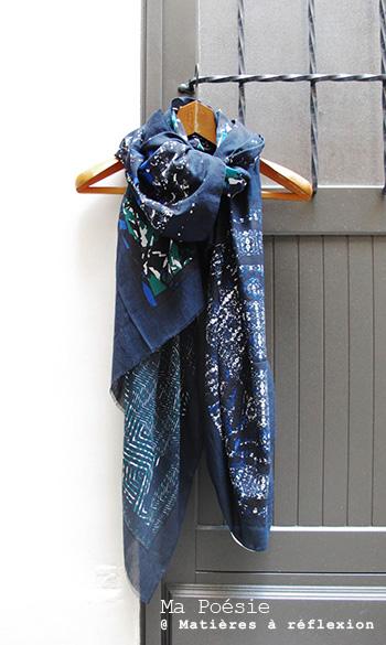 Foulard coton bleu marine soldes ma poésie romance