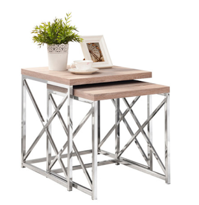 metal and wood nesting tables