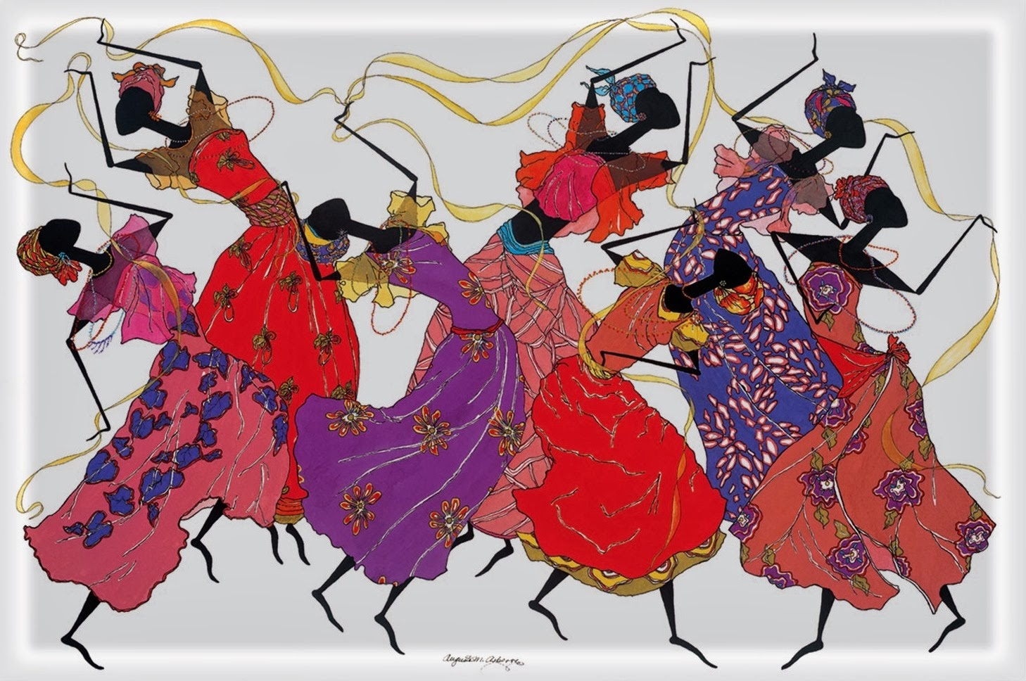 serie de pinturas al leo de negras africanas arte decorativo