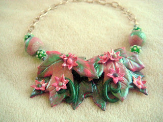 Pink and Green Leaf Necklace