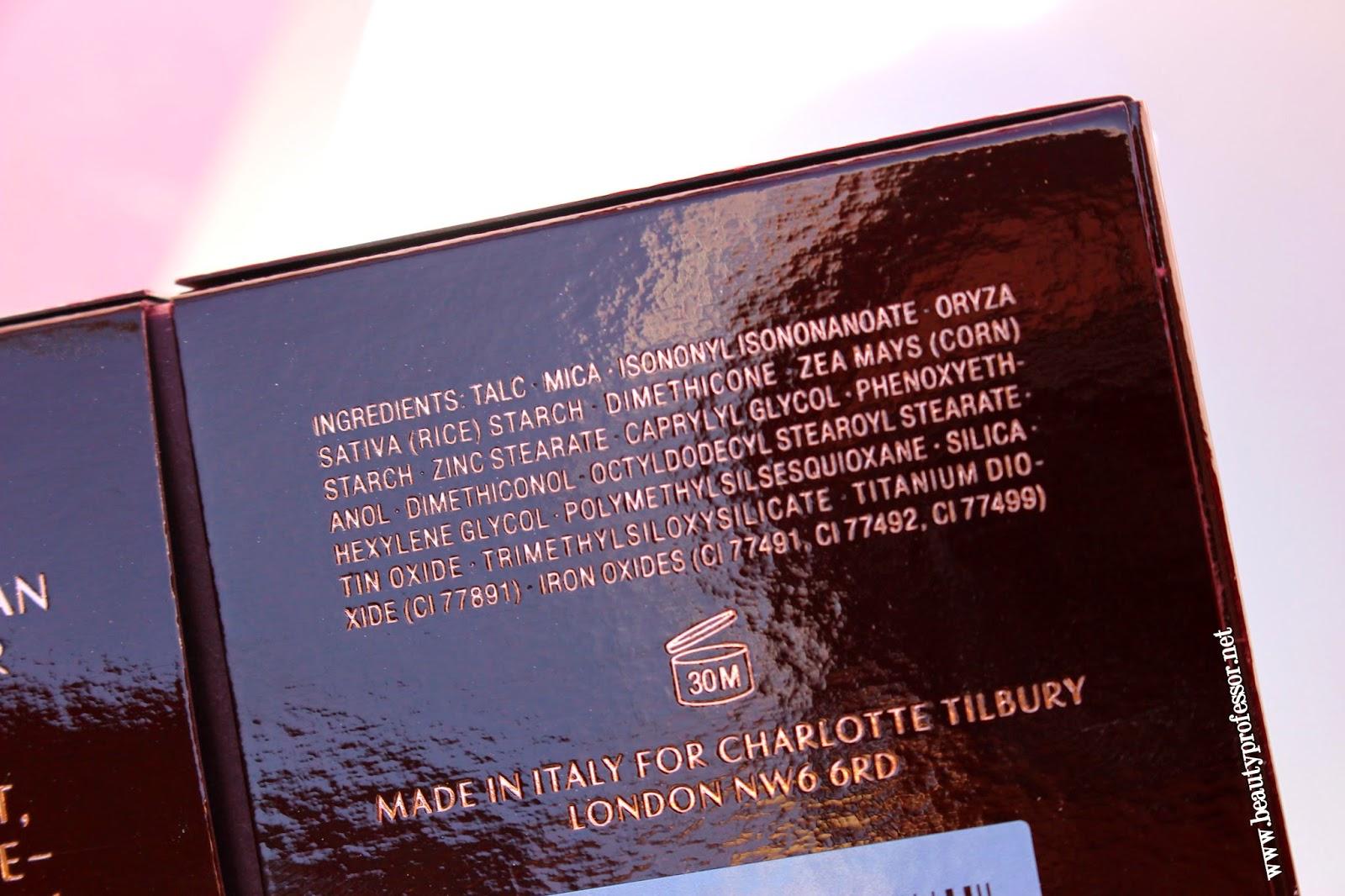 charlotte tilbury filmstar bronze and glow ingredients