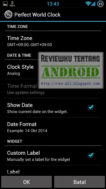 Pengaturan widget jam aplikasi PERFECT WORLD CLOCK - aplikasi android jam dunia dan memiliki widget (rev-all.blogspot.com)