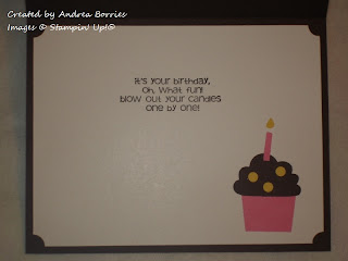 Inside of card with stamped sentiment and one punchced pink and brown cupcake.