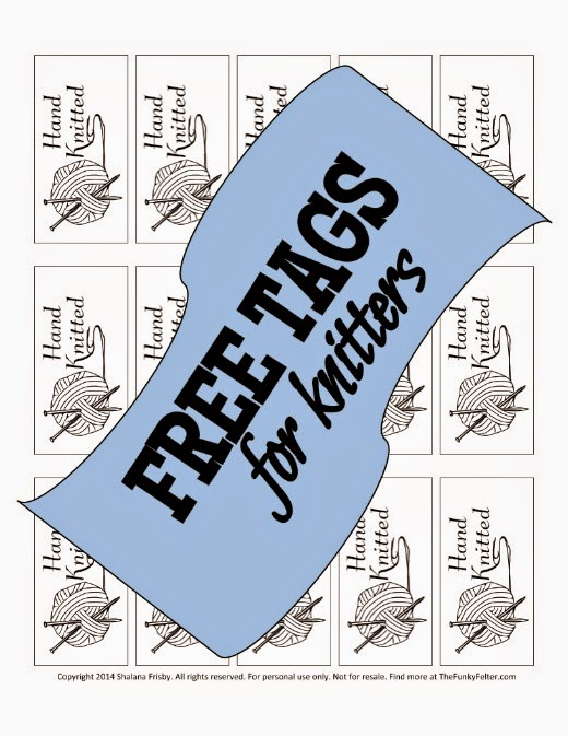 FREE hand knitted tags or labels for fiber crafters by the funky felter