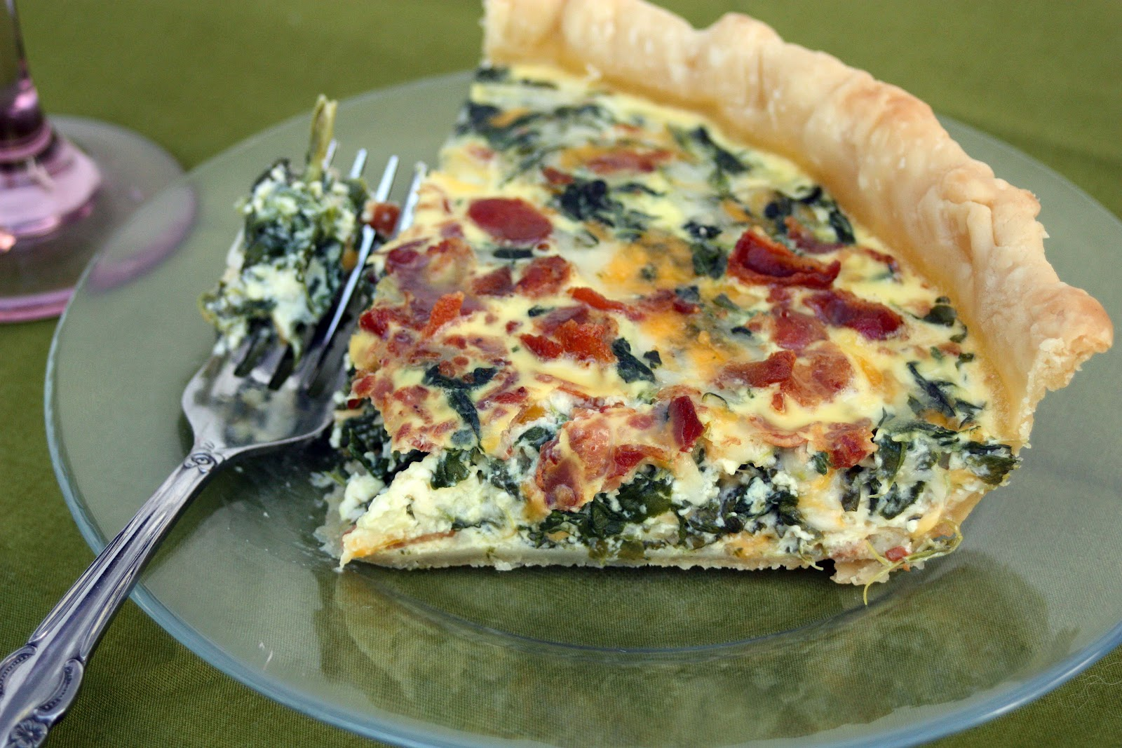 Just a spoonful of double quiche recipes bacon basil for Quiche not setting