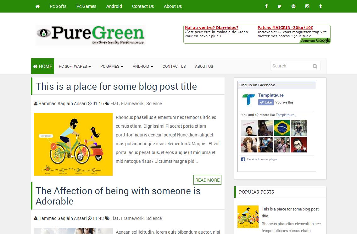PureGreen Responsive Blogger template