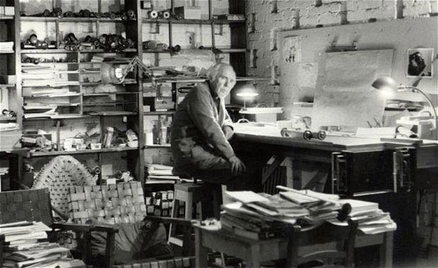 Conlon Nancarrow in his studio, photo by Betty Freeman