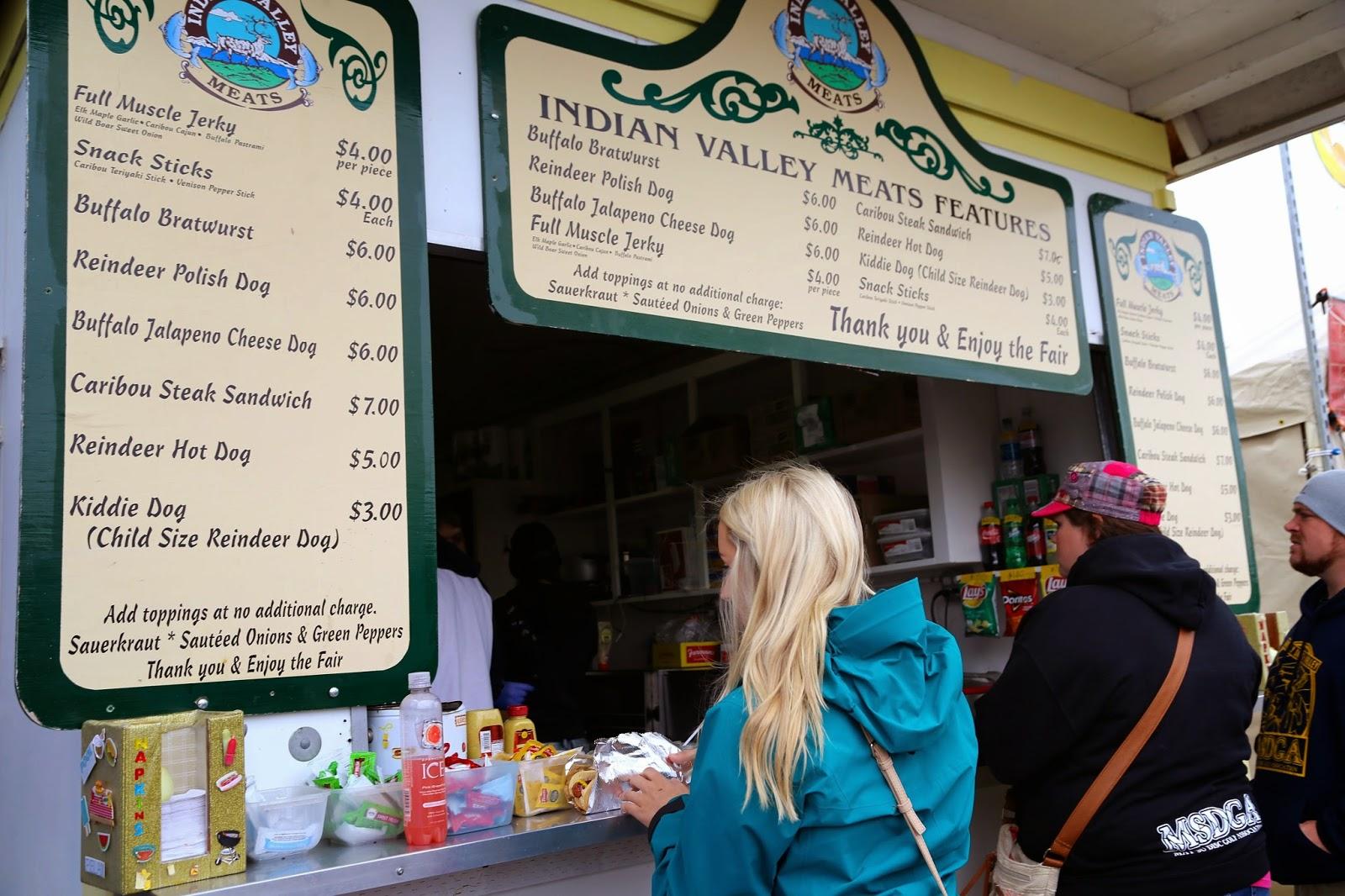 Reindeer sausage stall, Alaska State Fair