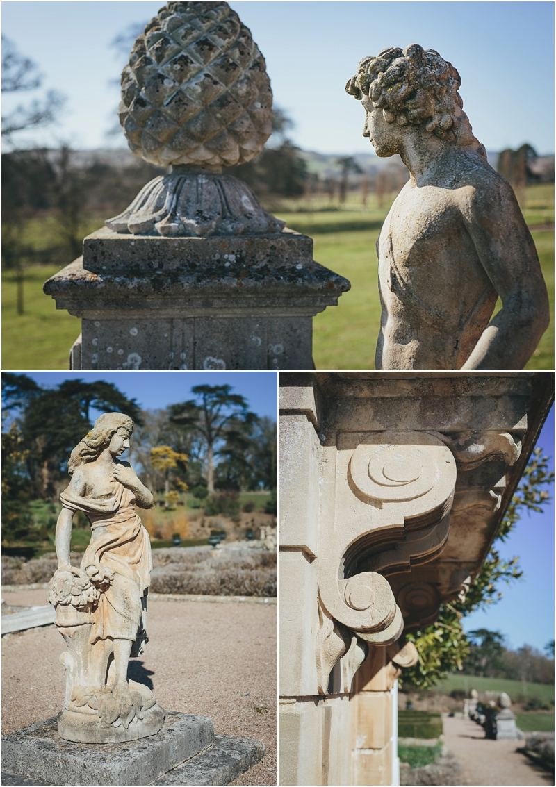 Statues and stonework at Pynes House