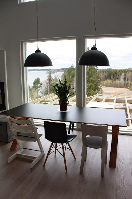 Ruokapöydän lampuiksi valittiin kaksi Vandeheg Golden Sunia.