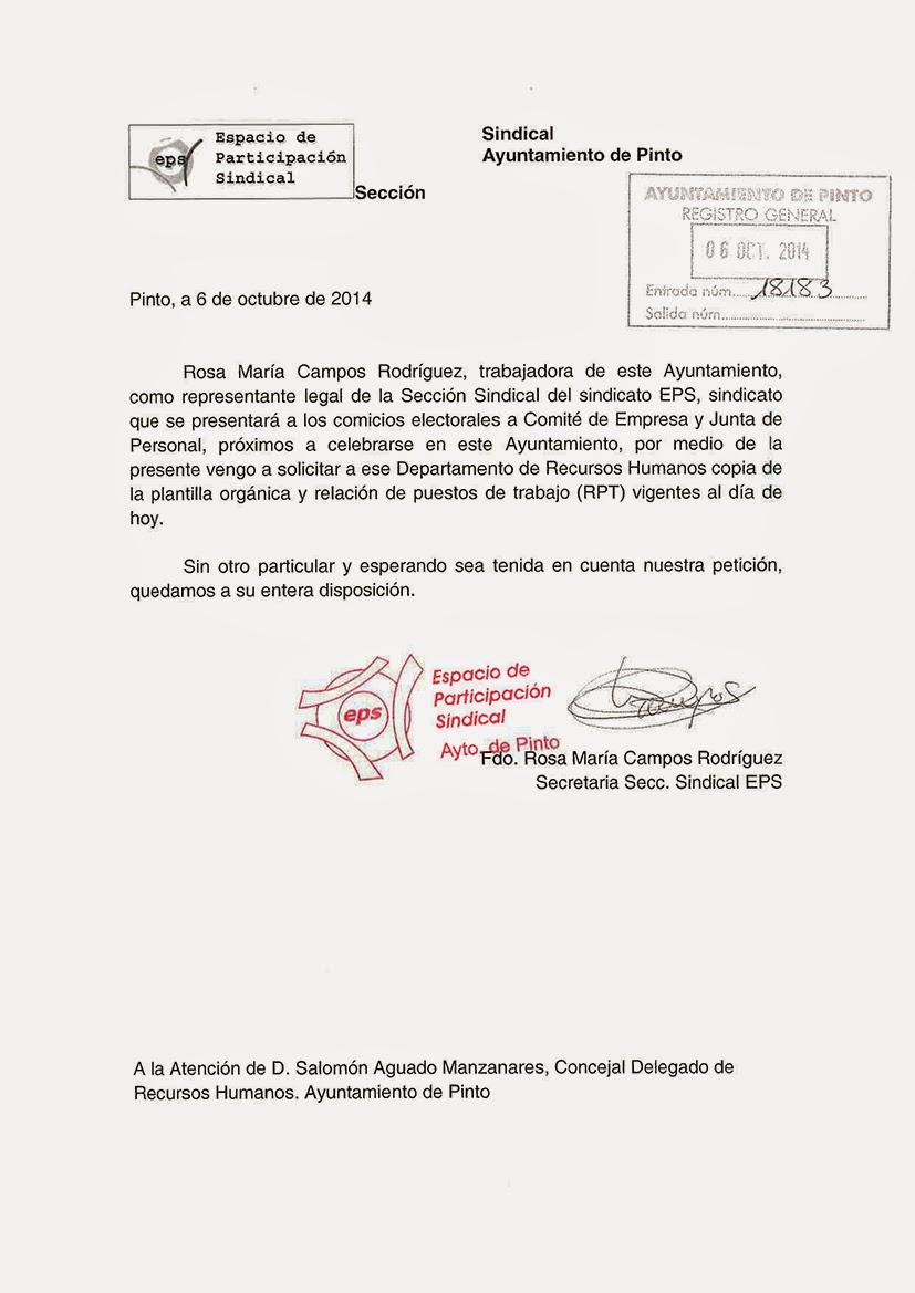 Espacio de Participación Sindical -Pinto-: 6-10-2014 Solicitud de ...
