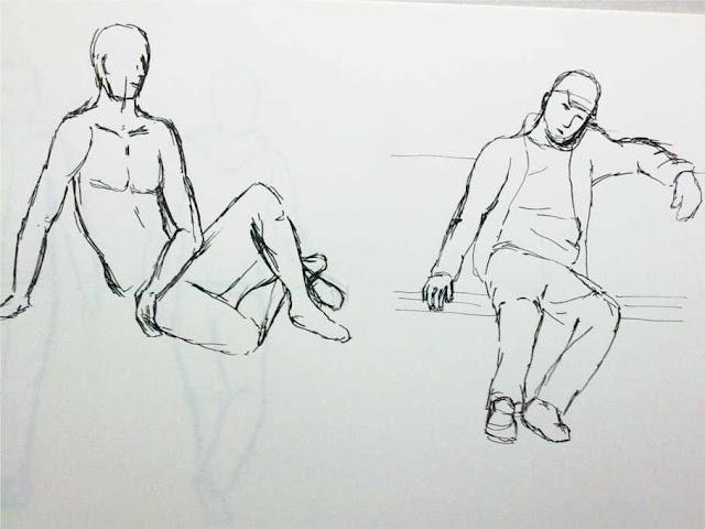 apunte dos figuras con tinta china