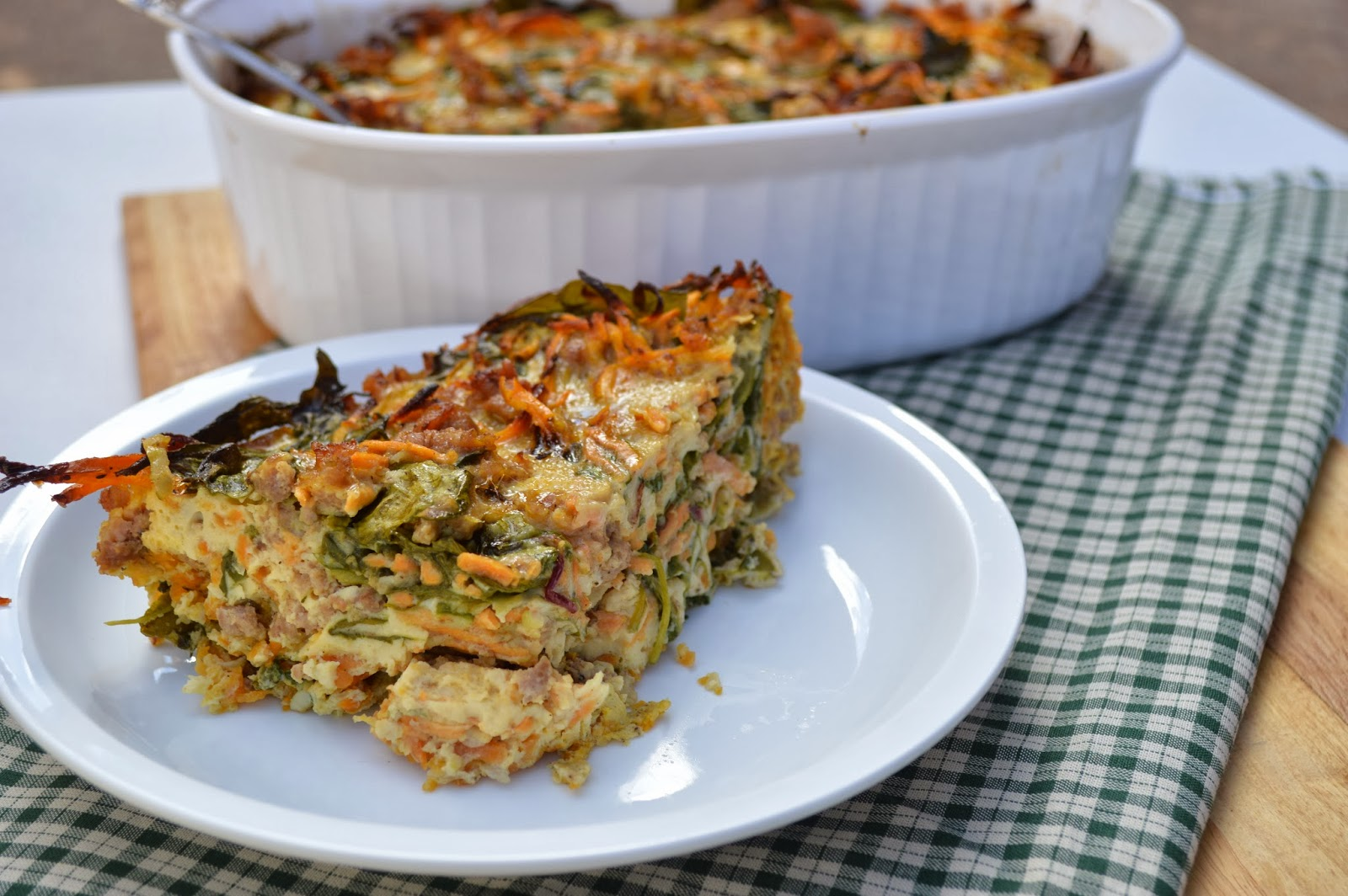 Paleo Sausage and Sweet Potato Breakfast Casserole - Plaid & Paleo