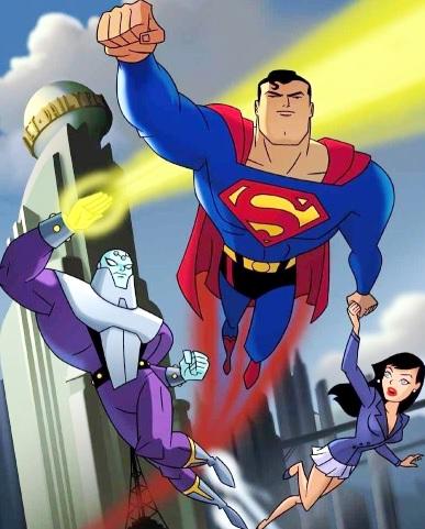 Dibujo de Superman salvando a la reportera Lois Lane del enemigo