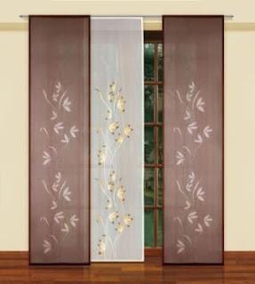 Biało brązowe panele z motywem roślinnym HAFT SA