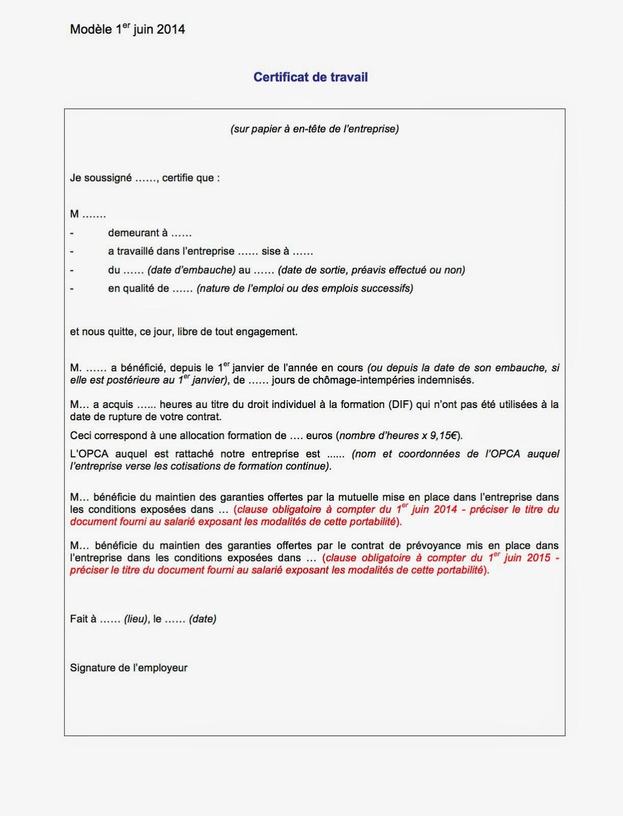 Objectif Formation Paie: Certificat de travail - Juin 2014