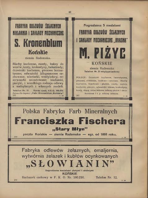 Reklamy koneckich firm z lat trzydziestych XX wieku - wśród nich reklama Starego Młyna.