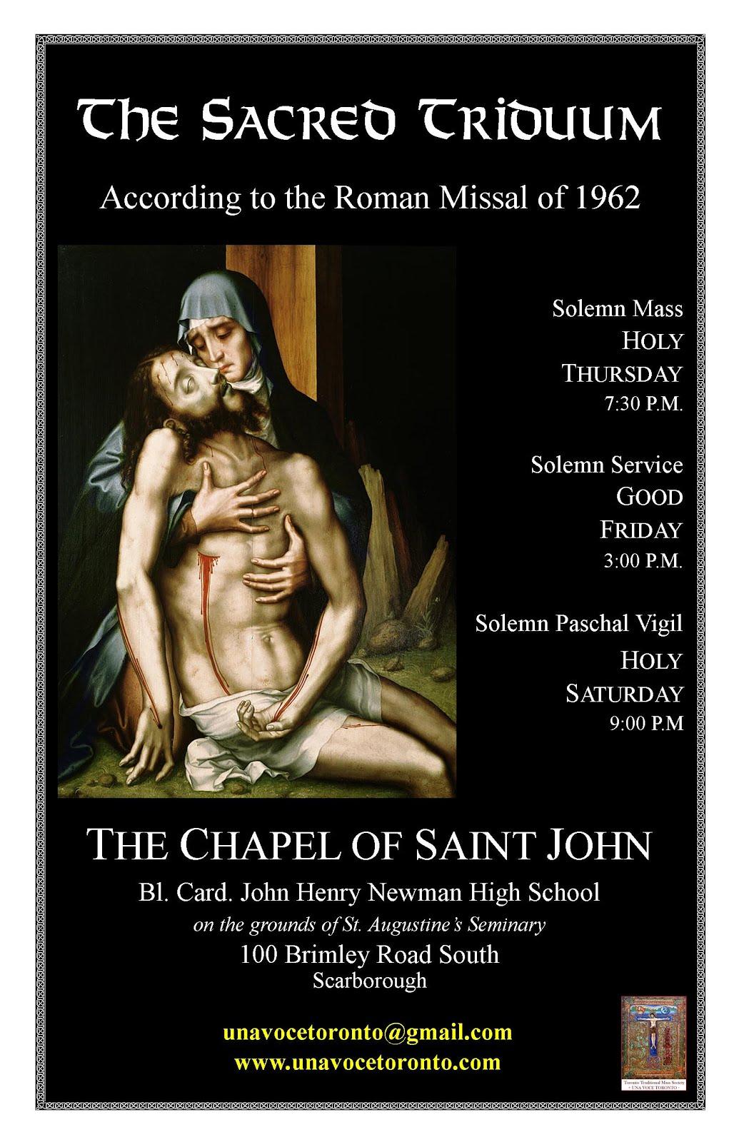 "Solemn Sacred ""EF"" Triduum in Toronto"