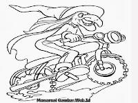 Gambar Mewarnai Penyihir Jahat Bersepeda Motor