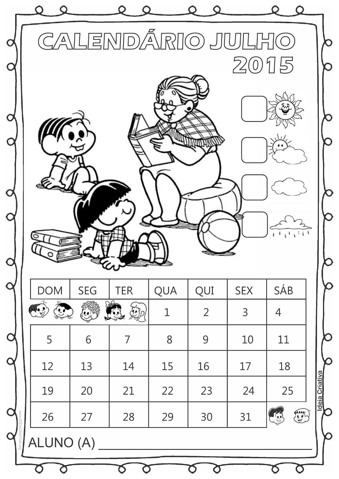 Calendário Turma da Mônica 2015 para Imprimir Grátis Julho Dia dos Avós