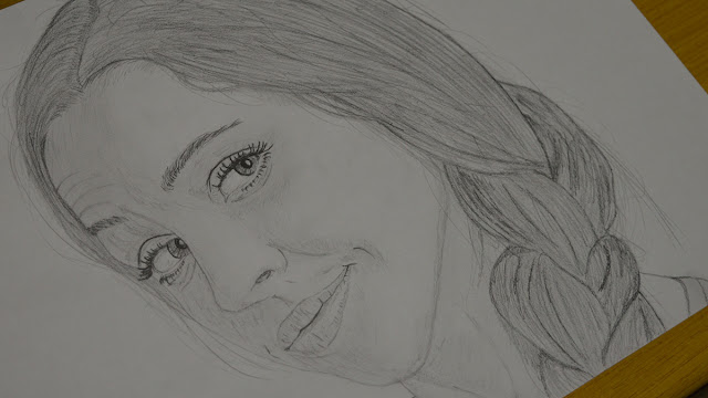 Girl face drawing - step 3