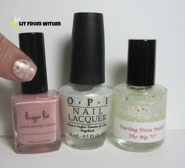 "Bottle shot:  Lacquer Lust Sweet Georgia Peach, OPI Ski Slope Sweetie, and Darling Diva Polish The Big ""O""."