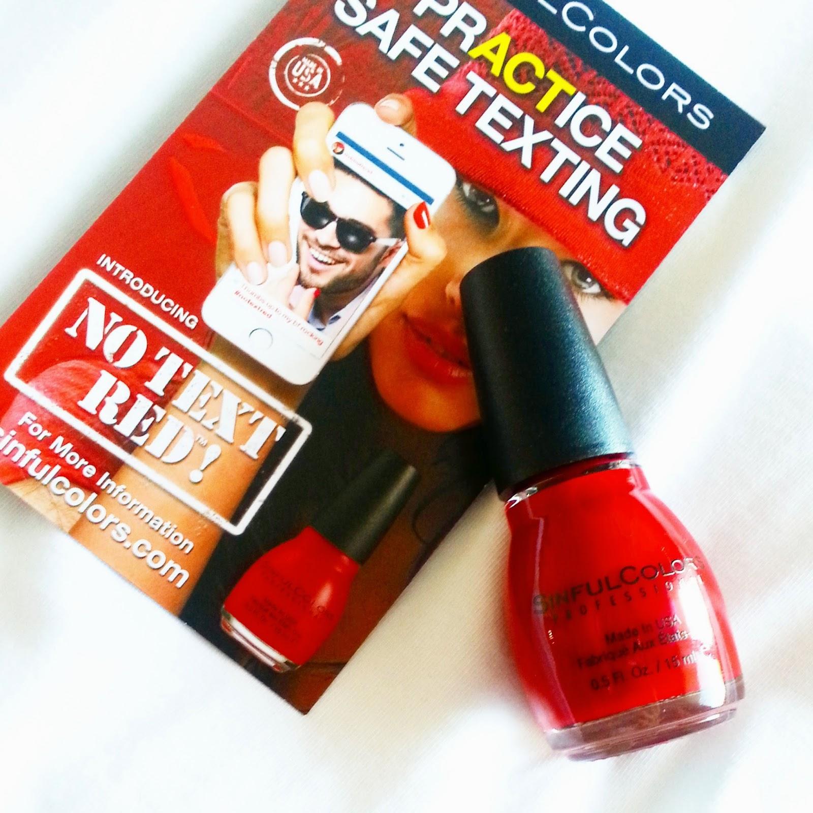 no texting while driving campaign, red nail polish, sinful colors nail polish,