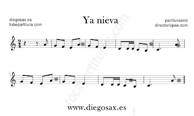 Ya Nieva partitura de flauta, violín, saxofón alto, trompeta, clarinete, soprano sax, tenor, oboe, corno inglés, trompa, fliscorno en Clave de Do