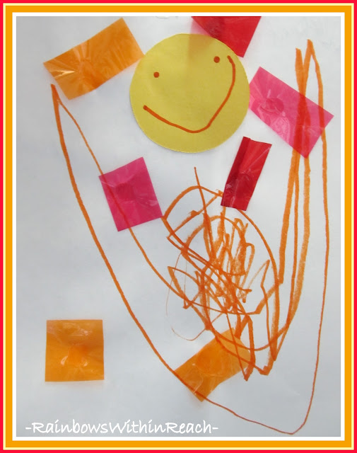 Preschool Drawing of Happy Face Smile with Tissue Paper Embellishments