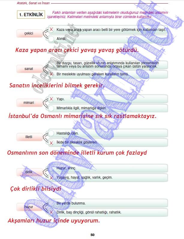 Sinif Turkçe Dersi Çalişma Kitabi Cevaplari Gizem Yayinlari