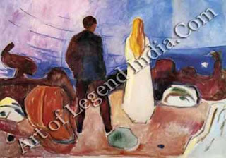 "The Great Artist Edvard Munch Painting ""The Lonely Ones"" c. 1915 39 x 51 Munch Museum, Oslo"
