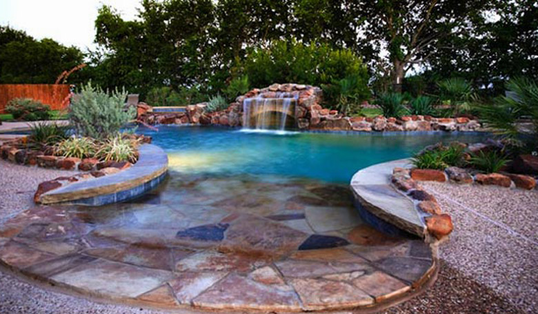 Pool surrounded by stone