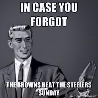 In case you forgot the browns beat the steelers sunday