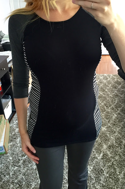 Loveappella Maternity - Kayna Mixed Print Maternity Knit Top - Maternity Stitch Fix Review