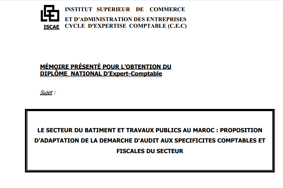 Sujet : Le secteur du bâtiment et travaux publics au Maroc