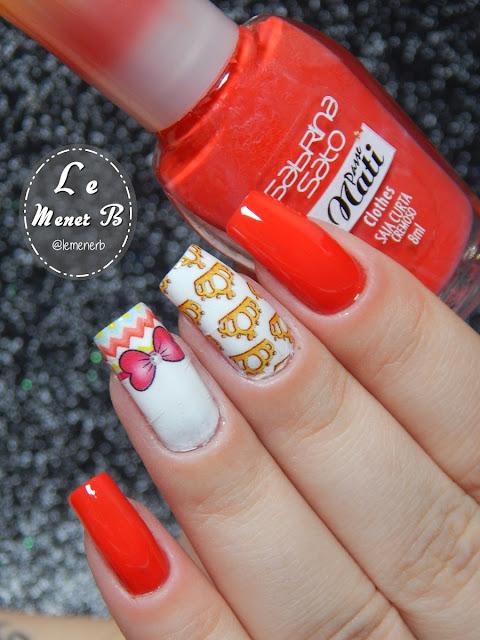 nail art com esmalte vermelho