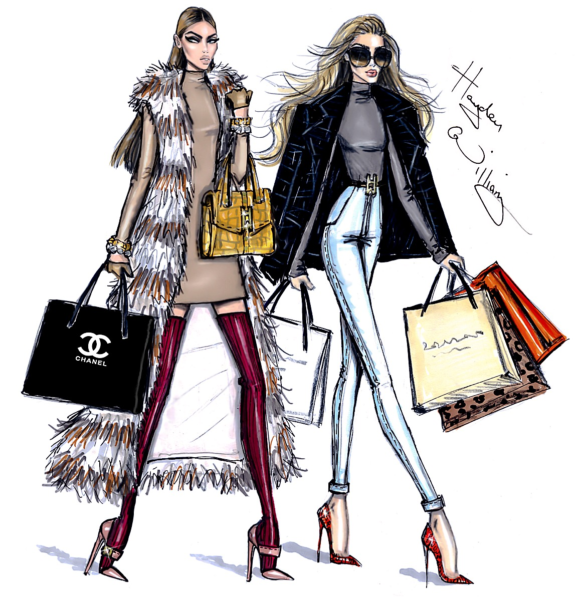 woman luxury shopping bags illustration
