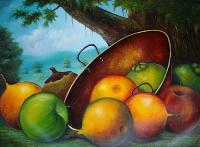 Bodegon Frutas Paisaje Fondo